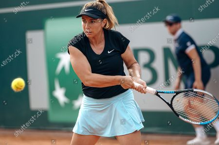 Kristina Kucova of Slovakia in action against Maryna Zanevska of Belgium during their final match of the WTA BNP Paribas Poland Open tennis tournament in Gdynia, northern Poland, 25 July 2021.
