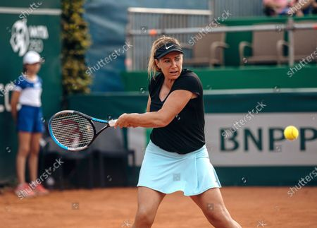 Stock Picture of Kristina Kucova of Slovakia in action against Maryna Zanevska of Belgium during their final match of the WTA BNP Paribas Poland Open tennis tournament in Gdynia, northern Poland, 25 July 2021.
