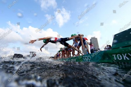 Jonathan Brownlee, of Britain, compete in the swim leg of the men's individual triathlon at the the at the 2020 Summer Olympics, in Tokyo
