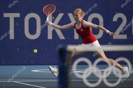 Stock Photo of Alison van Uytvanck, of Belgium, plays Petra Kvitova, of the Czech Republic, during the second round of the tennis competition at the 2020 Summer Olympics, in Tokyo, Japan
