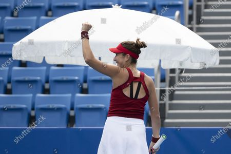 Belinda Bencic of Switzerland celebrates winning her second round match against Misaki Doi of Japan in the women's single tennis competition at the 2020 Tokyo Summer Olympics at the Ariake Tennis Park in Tokyo, Japan, 26 July 2021.