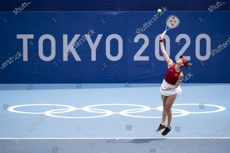 Belinda Bencic of Switzerland in action during her second round match against Misaki Doi of Japan in the women's single tennis competition at the 2020 Tokyo Summer Olympics at the Ariake Tennis Park in Tokyo, Japan, 26 July 2021.