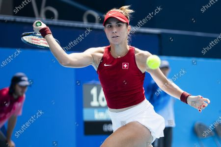 Stock Picture of Belinda Bencic of Switzerland in action during her second round match against Misaki Doi of Japan in the women's single tennis competition at the 2020 Tokyo Summer Olympics at the Ariake Tennis Park in Tokyo, Japan, 26 July 2021.