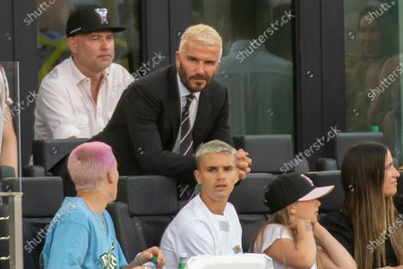 David Beckham with children Cruz Beckham, Romeo Beckham and Harper Beckham
