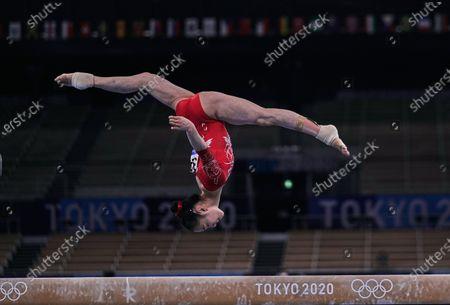 Jin Zhang of China during women's artistic gymnastics qualfication at the Olympics at Ariake Gymnastics Centre, Tokyo, Japan