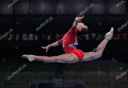 Stock Picture of Jin Zhang of China during women's artistic gymnastics qualfication at the Olympics at Ariake Gymnastics Centre, Tokyo, Japan