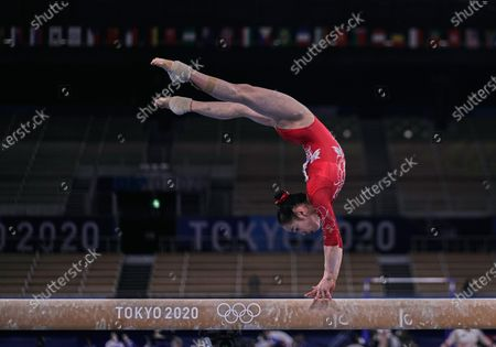 Stock Photo of Jin Zhang of China during women's artistic gymnastics qualfication at the Olympics at Ariake Gymnastics Centre, Tokyo, Japan