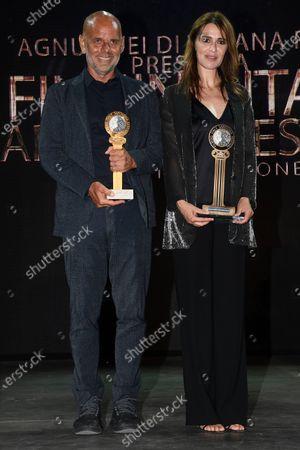 Paola Cortellesi with her husband Riccardo Milani