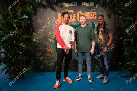 Stock Photo of Devin Griffin Neil Jones and Nigel Clarke arrive at the multimedia screening of Disney's Jungle Cruise at the Odeon Leicester Square.