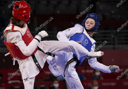 Stock Image of Jade Jones vs Kimia ALIZADEH ZENOORIN  Taekwondo Women 57 kg round of 16