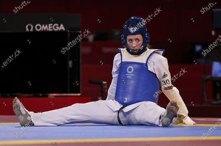Stock Picture of Jade Jones dejected after defeat to Kimia ALIZADEH ZENOORIN  Taekwondo Women 57 kg round of 16