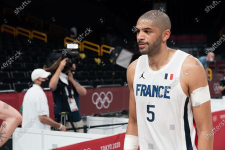 Nicolas Batum of Team France during men's First Round Group A match between France and United States during the Tokyo 2020 Olympic Games at The Saitama Super Arena on July 25, 2021 in Saitama, Japan.
