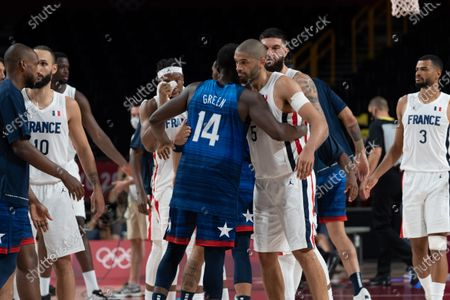 Nicolas Batum of Team France conventions Draymond Green of Team United States during men's First Round Group A match between France and United States during the Tokyo 2020 Olympic Games at The Saitama Super Arena on July 25, 2021 in Saitama, Japan.