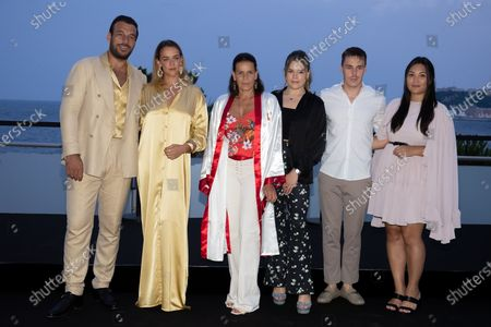 Maxime Giaccardi, Pauline Ducruet, Princess Stephanie of Monaco, Camille Marie Kelly Gottlieb, Louis Ducruet and Marie Chevallier are waiting for the Fight Aids Gala at Sporting Monte-Carlo on July 24, 2021 in Monte-Carlo, Monaco.