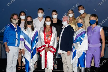 Stock Image of Maxime Giaccardi, Pauline Ducruet, Princess Stephanie of Monaco, Camille Marie Kelly Gottlieb, Louis Ducruet, Marie Chevallier and the band 'ABBA' are waiting for the Fight Aids Gala at Sporting Monte-Carlo on July 24, 2021 in Monte-Carlo, Monaco.