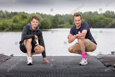 Stock Image of Alistair and Jonny Brownlee training at Otley Sailing club.