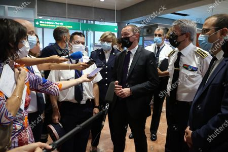 Stock Photo of Visit of (C) Olivier Dussopt (Deputy Minister in charge of Public Accounts) to attend a control operation carried out by customs officials on non-Community flights upon arrival in France, Airport Nice-Côte d'Azur,