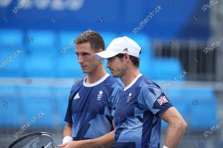 Andy Murray (GB) and Joe Salisbury (GB) take the court versus Kevin Krawietz (Ger) & Tim Puetz (Ger) doubles match; Ariake Tennis Center, Tokyo, Japan; Olympic Tennis competition, Day 4 of Tokyo 2020 Summer Olympic Games.