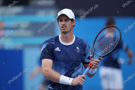 Murray returns in the Andy Murray (GB) and Joe Salisbury (GB) versus Kevin Krawietz (Ger) & Tim Puetz (Ger) doubles match; Ariake Tennis Center, Tokyo, Japan; Olympic Tennis competition, Day 4 of Tokyo 2020 Summer Olympic Games.