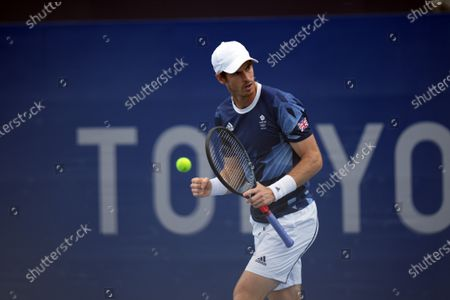 Murray celebrates a winning point in the Andy Murray (GB) and Joe Salisbury (GB) versus Kevin Krawietz (Ger) & Tim Puetz (Ger) doubles match; Ariake Tennis Center, Tokyo, Japan; Olympic Tennis competition, Day 4 of Tokyo 2020 Summer Olympic Games.