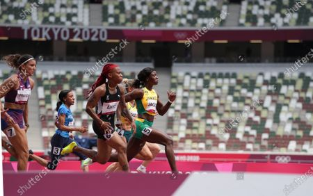 Womens 100m qualification heat 7 as AHYE Michelle-Lee (TTO) and JACKSON Shericka (JAM) qualify; Olympic Stadium, Tokyo, Japan: Tokyo 2020 Olympic summer games day 7.