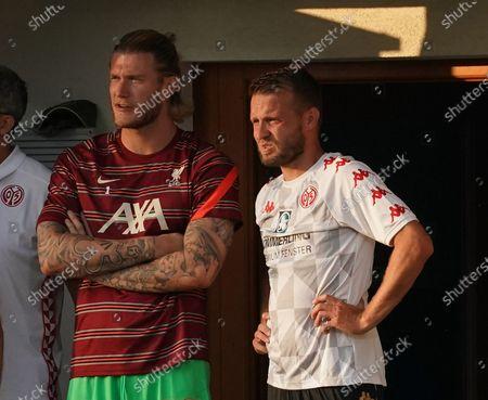 Goalkeeper Loris Karius (Liverpool) with Daniel Brosinski (FSV Mainz 05)