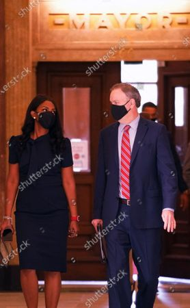 Stock Photo of St. Louis Mayor Tishaura Jones and St. Louis County Executive Dr. Sam Page walk to a press conference at St. Louis City Hall to announce the City of St. Louis and St. Louis County will require people to wear masks while in public, in St. Louis on Monday, July 26, 2021. The mask order is being put into place since cases in the St. Louis region have begun to rise and the Delta variant of the coronavirus has become dominant across Missouri.