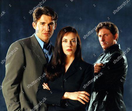 L-R:- George Brunos (Jonathan Cake), Donna Brunos (Susan Vidler) and Alan Cox (Adrian Dunbar)
