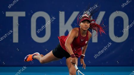 Naomi Osaka, of Japan, plays Marketa Vondrousova, of the Czech Republic, during the third round of the tennis competition at the 2020 Summer Olympics, in Tokyo, Japan