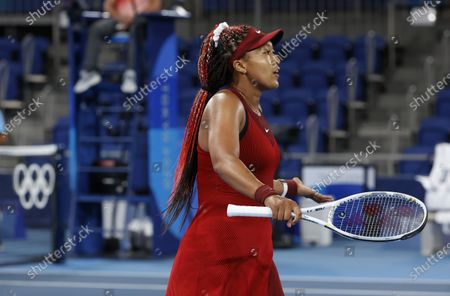 Naomi Osaka of Japan reacts after a point against Marketa Vondrousova of the Czech Republic during the Women's Singles Third Round Tennis events of the Tokyo 2020 Olympic Games at the Ariake Coliseum in Tokyo, Japan, 27 July 2021.