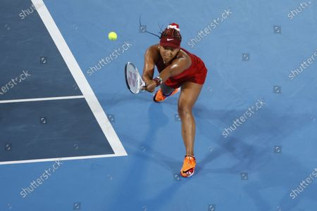 Naomi Osaka of Japan in action against Marketa Vondrousova of the Czech Republic during the Tennis events of the Tokyo 2020 Olympic Games at the Ariake Coliseum in Tokyo, Japan, 27 July 2021.