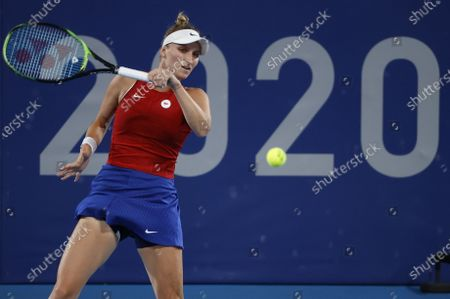 Marketa Vondrousova of the Czech Republic in action against Naomi Osaka of Japan during the Women's Singles Third Round Tennis events of the Tokyo 2020 Olympic Games at the Ariake Coliseum in Tokyo, Japan, 27 July 2021.