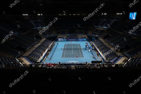 Marketa Vondrousova of the Czech Republic (Bottom) in action against Naomi Osaka of Japan (Top) during the Women's Singles Third Round Tennis events of the Tokyo 2020 Olympic Games at the Ariake Coliseum in Tokyo, Japan, 27 July 2021.