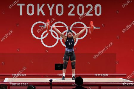 Maria Grazia Alemanno of Italy competes in the Women's 59kg Group B during the Weightlifting events of the Tokyo 2020 Olympic Games at the Tokyo International Forum in Tokyo, Japan, 27 July 2021.