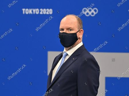 Albert II, Prince of Monaco await Women's 100m Breaststroke medal ceremony during the Tokyo 2020 Olympic Games at Tokyo Aquatics Centre in Tokyo, Japan on July 27, 2021.