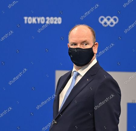 Stock Picture of Albert II, Prince of Monaco await Women's 100m Breaststroke medal ceremony during the Tokyo 2020 Olympic Games at Tokyo Aquatics Centre in Tokyo, Japan on July 27, 2021.