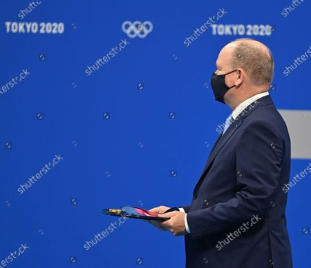 Prince of Monaco Albert II await Women's 100m Breaststroke medal ceremony during the Tokyo 2020 Olympic Games at Tokyo Aquatics Centre in Tokyo, Japan on July 27, 2021.