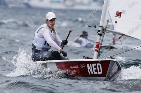 Marit Bouwmeester of Netherlands competes in the Women's Laser Radial Class discipline in the Sailing events of the Tokyo 2020 Olympic Games in Enoshima, Japan, 27 July 2021.