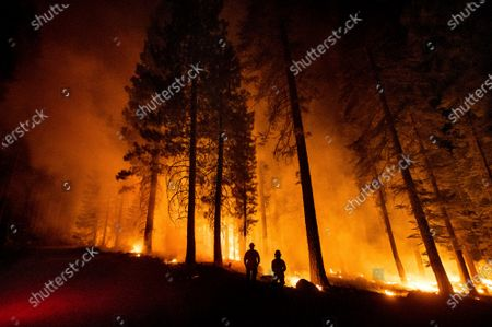 Stock Picture of Cal Fire Capts. Derek Leong, right, and Tristan Gale monitor a firing operation, where crews set ground fire to stop a wildfire from spreading, while battling the Dixie Fire in Lassen National Forest, Calif., on