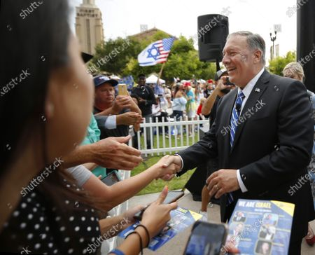 """Stock Photo of Mike Pompeo, the former CIA director and secretary of state under Donald Trump, greets people at """"We Are Israel"""", a rally against antisemitism in El Cajon on Sunday, July 25, 2021."""