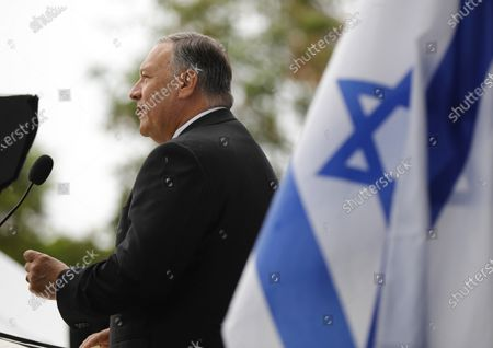 """Mike Pompeo, the former CIA director and secretary of state under Donald Trump, speaks at """"We Are Israel"""", a rally against antisemitism in El Cajon on Sunday, July 25, 2021."""