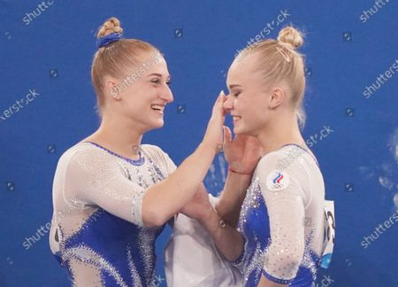 Angelina Elnikova of team ROC celebrates with teammates after her performance in the floor competition at the women's artistic team all-around finals at the Tokyo 2020 Summer Olympic Games in Tokyo, Japan on Tuesday, July 27, 2021.