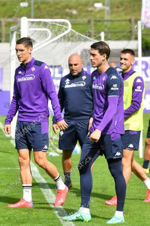 Stock Picture of A.c.f. Fiorentina pre-season training session - (from left) Nikola Milenkovic and Dusan Vlahovic