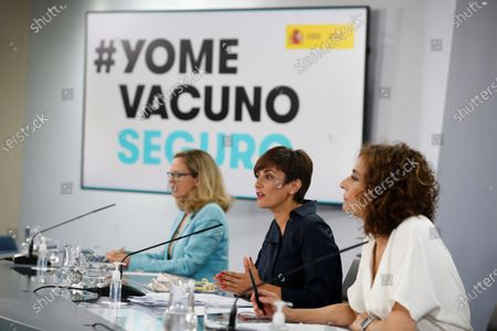 First Vice-President of the Government of Spain and Minister for the Economy and Digital Transformation Nadia Calvino (L), Minister for Territorial Policy and Government Spokesperson Isabel Rodriguez (C) and Minister for Finance and Public Function Maria Jesus Montero (R) during the press conference after de Cabinet's meeting at La Moncloa Palace, in Madrid, Spain, 27 July 2021.