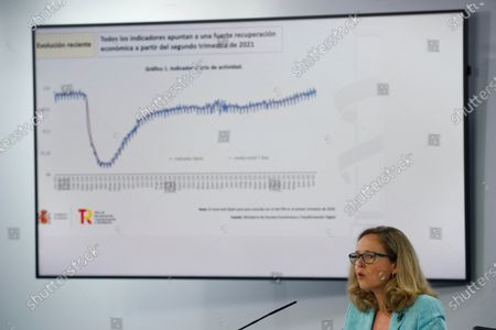 Stock Image of First Vice-President of the Government of Spain and Minister for the Economy and Digital Transformation, Nadia Calvino during a press conference after de Cabinet's meeting at La Moncloa Palace, in Madrid, Spain, 27 July 2021.