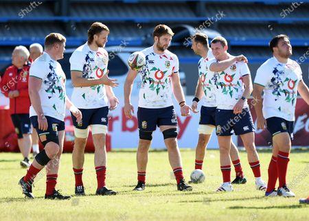 (L to R) Tadhg Furlong, Jonny Hill, Iain Henderson and Finn Russell - British & Irish Lions players train ahead of Saturday's 2nd Test against the Springboks.