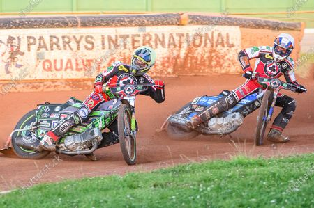 Stock Image of Charles Wright  (Yellow) leads team mate Nick Morris  (White) during the SGB Premiership match between Wolverhampton Wolves and Belle Vue Aces at the Ladbroke Stadium, Wolverhampton, England on  26th July 2021.