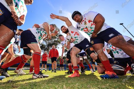 Stock Picture of British & Irish Lions Squad Training, South Africa 27/7/2021. Ken Owens with Tadhg Furlong, Luke Cowan-Dickie and Mako Vunipola