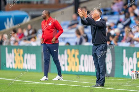Crystal Palace manager Patrick Vieira and Charlton Athletic manager Nigel Adkins during the Pre-Season Friendly match between Crystal Palace and Charlton Athletic at Selhurst Park, London