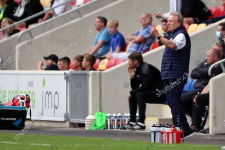Stock Photo of Middlesbrough Manager Neil Warnock gestures during the Pre-Season Friendly match between York City and Middlesbrough at The LNER Community Stadium, York